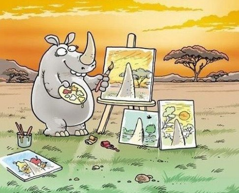 Everything is relative depending on who you are, what your background is, what your level of understanding is and what you believe to be true. Perception is reality. In the painting above the Rhino is only painting what he sees from his position. Others see what he is painting differently. Who is right?